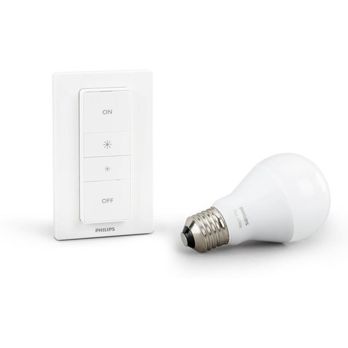Philips Hue Wireless Dimming Kit (second generation) Includes an A19 smart LED light bulb and wireless dimmer