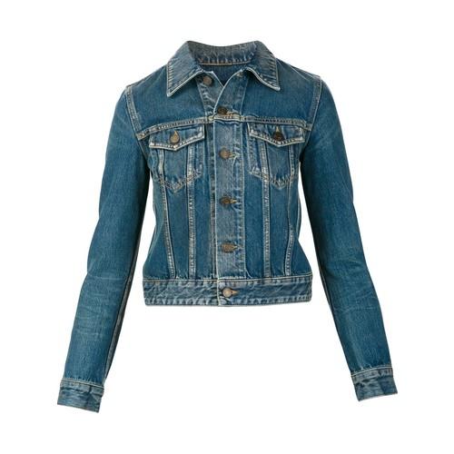 SAINT LAURENT Musical Note Embellished Denim Jacket