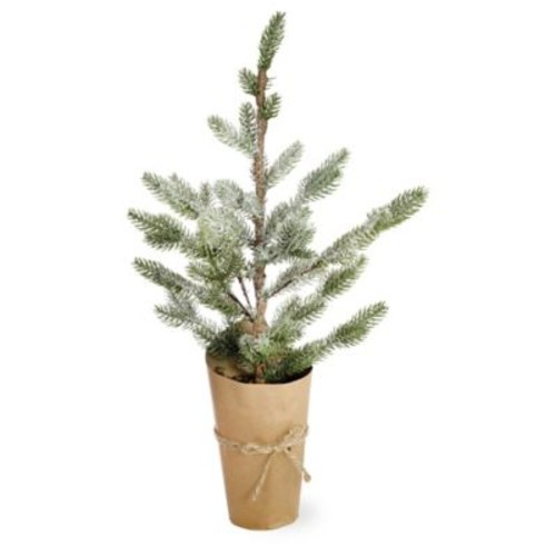 Boston International 21-Inch Large Potted Artificial Cypress Tree in Green/White