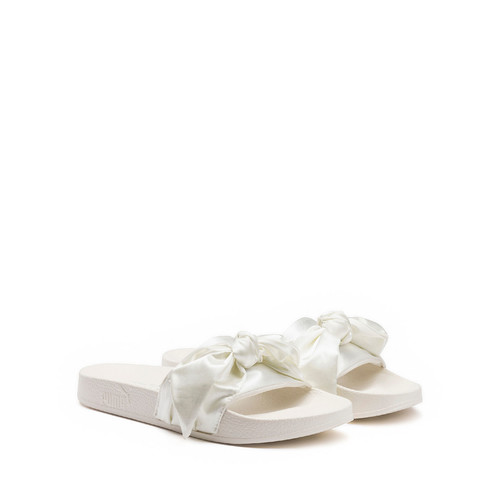 FENTY PUMA BY RIHANNA Bow Satin Slide Sandal, White