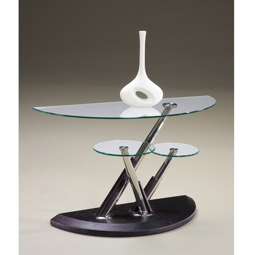 Magnussen Home Furnishings Coffee, Console, Sofa & End Tables Modesto Metal and Glass Half Moon Sofa Table