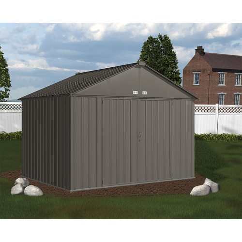 Arrow EZ10872HVCC 10' x 8' EZEE Shed Galvanized Steel Storage, Extra High Gable - Charcoal
