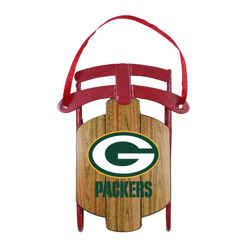NFL Metal Sled Ornament - Green Bay Packers