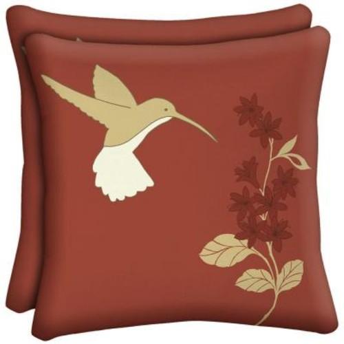 Hampton Bay Hummingbird Square Outdoor Throw Pillow (2-Pack)