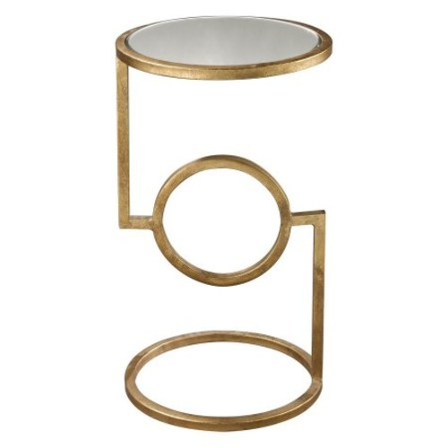 Titan Lighting Antique Gold Leaf Mirrored Top Side Table