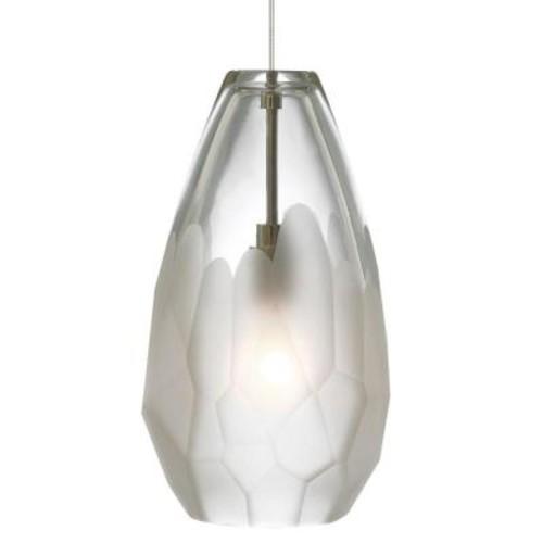 LBL Lighting Briolette 1-Light Satin Nickel Frost Xenon Hanging Mini Pendant