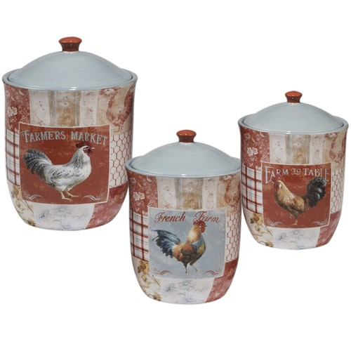 Certified International Farm House Ceramic Canisters (Pack of 3)