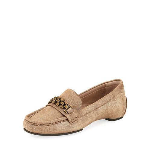Fatema Chain Metallic Leather Loafer