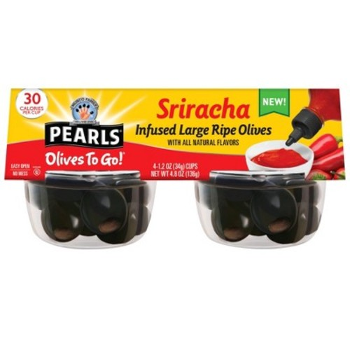 Pearls Olives To Go! Sriracha Infused Olives - 4.8oz