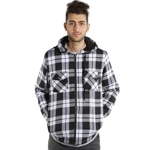 Men's Hooded Flannel Plaid Hooded Jacket
