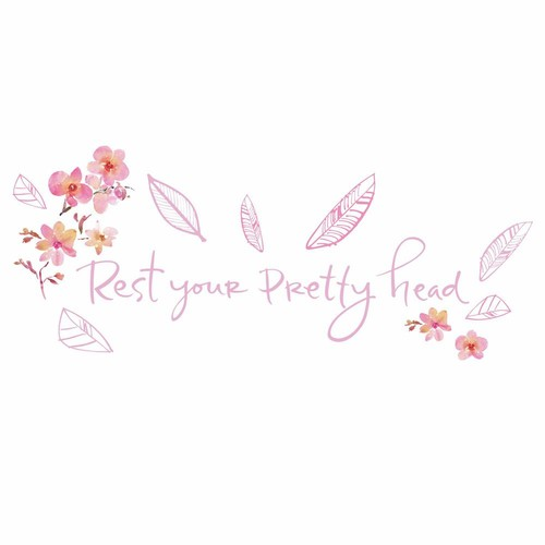 RoomMates 5 in. x 11.5 in. Kathy Davis Pretty Head Quote 12-Piece Peel and Stick Wall Decals
