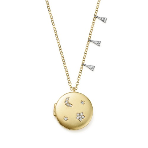 14K White and Yellow Gold Diamond Moon and Star Locket Necklace, 16