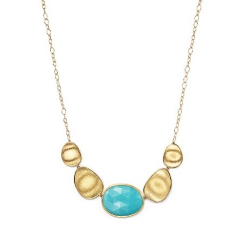 18K Yellow Gold Turquoise Necklace, 16.5