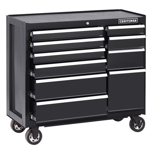 Craftsman 10 Drawer Soft Close Ball-Bearing Rolling Cart - Black