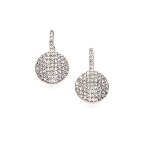Pav Diamond & 14K Yellow Gold Petite Infinity Drop Earrings