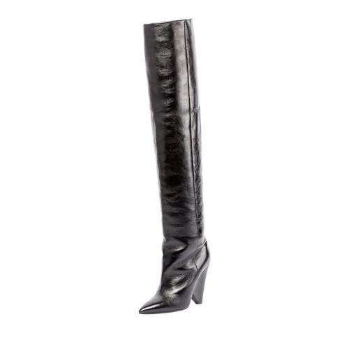 SAINT LAURENT Crinkled Leather Knee Boot