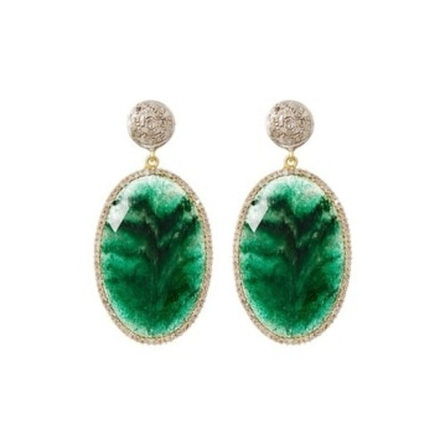 Genuine Diamond and Emerald Earring