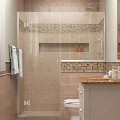 DreamLine Unidoor-X 59 in. to 59-1/2 in. x 72 in. Frameless Hinged Shower Door in Chrome with Buttress Panel