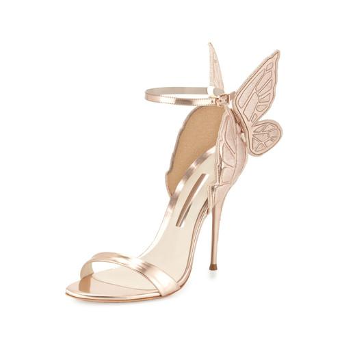 Chiara Butterfly Wing Ankle-Wrap Sandal, G
