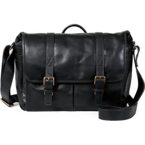 Brixton Camera/Laptop Messenger Bag (Leather, Black)