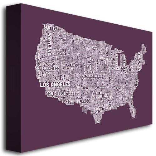 Trademark Fine Art US City Map IV by Michael Tompsett Canvas Wall Art, 22x32-Inch