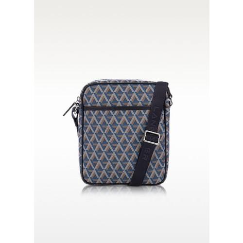 Ikon Blue Coated Canvas Men's Crossbody Bag