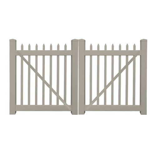 Weatherables Abbington 8 ft. W x 5 ft. H Khaki Vinyl Picket Fence Double Gate Kit