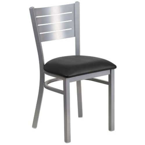 Flash Furniture Hercules Series Black Vinyl Slat Back Metal Restaurant Chair (XUDG60401BKV)