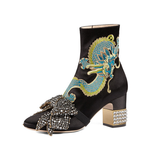 GUCCI Candy Embroidered Crystal-Bow Boot