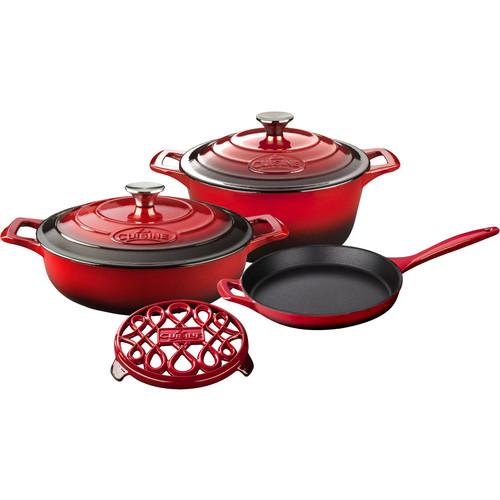 La Cuisine PRO 6-Piece Enameled Cast Iron Cookware Set, Round Casserole/Trivet