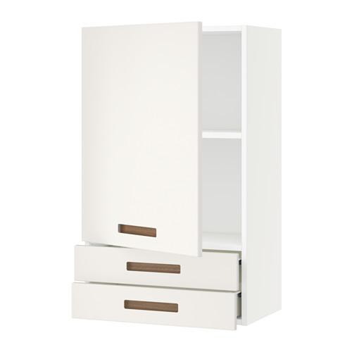 SEKTION Wall cabinet with door & 2 drawers, white Maximera, Veddinge white