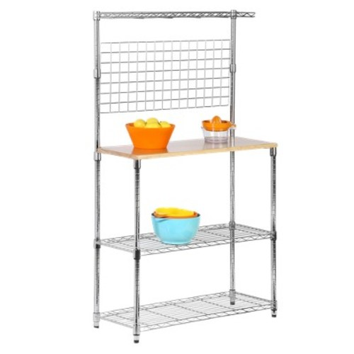 Honey-Can-Do SHF-01608 Bakers Rack with Kitchen Storage, Steel and Wood [3-Shelf Bakers Rack]