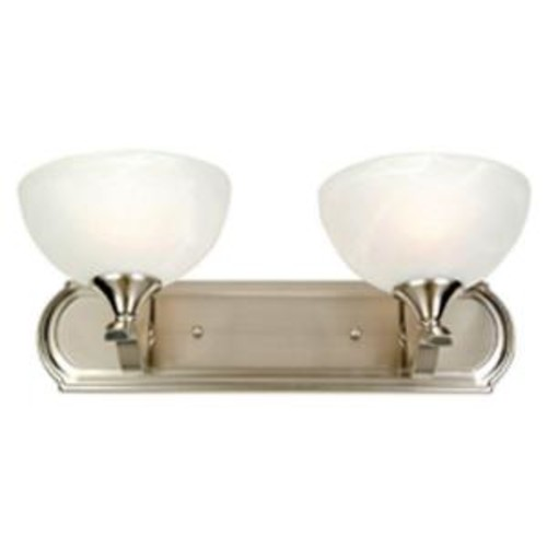 Yosemite Home Decor Glacier Point Collection 2-Light Satin Nickel Bathroom Vanity Light with Ivory Cloud Glass Shade