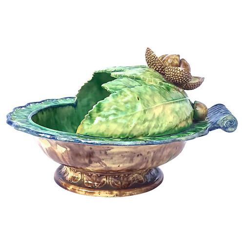 French Majolica Chestnut Bowl