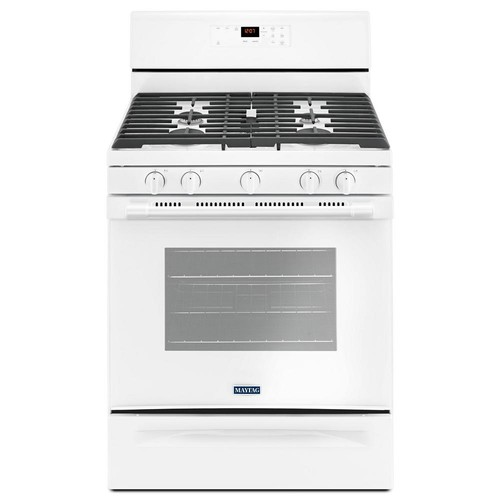 Maytag 30 in. 5.0 cu. ft. Wide Gas Range with 5th Oval Burner in White