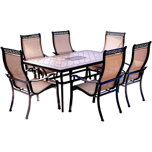 Hanover Monaco 7-Piece Aluminum Outdoor Dining Set with Rectangular Tile-Top Table and Contoured Sling Stationary Chairs