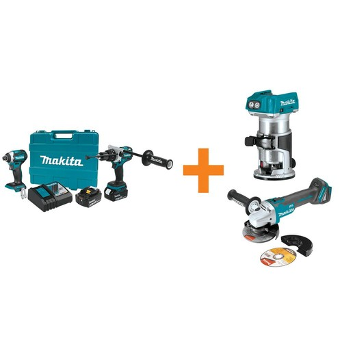 Makita 18V LXT Lithium-Ion BL Cordless Hammer Drill/Impact Driver Combo Kit w/BONUS 18V BL Router and 18V Cut-Off/Angle Grinder