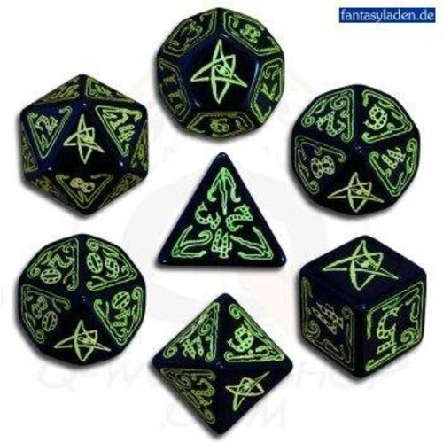 Call of Cthulhu: Black and Green Dice, Set of 7