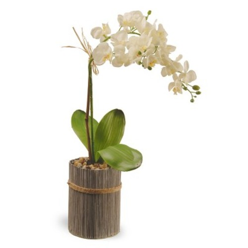 Garden Accents Artificial Potted Orchid White 20