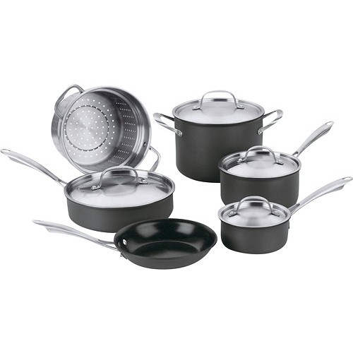 Cuisinart - Green Gourmet 10-Piece Cookware Set - Black