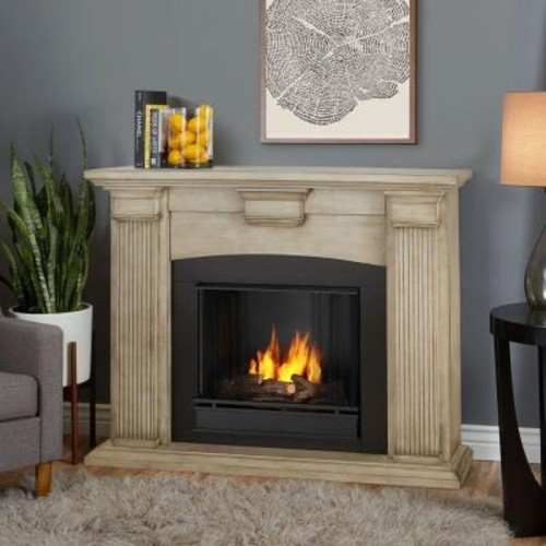 Real Flame Adelaide 51 in. Ventless Gel Fireplace in Dry Brush White