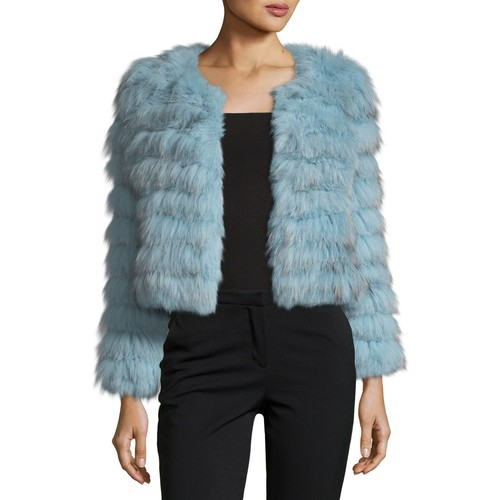 ALICE + OLIVIA Fawn Fox Rabbit Fur Cropped Jacket