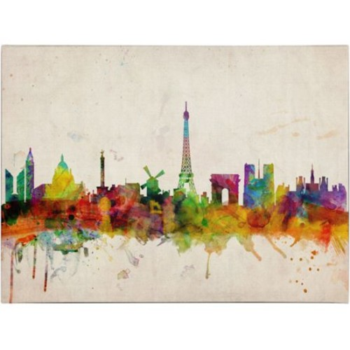 Paris Skyline by Michael Tompsett, 16 by 24-Inch Canvas Wall Art [16 by 24-Inch]