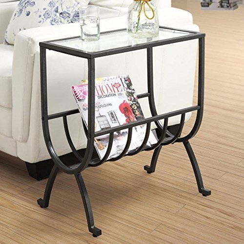 Monarch Specialties Metal Magazine Table with Tempered Glass, Stardust Brown