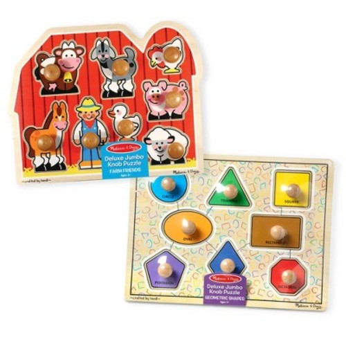 Melissa & Doug Jumbo Knob Wooden Puzzles - Shapes and Farm Animals 2pc