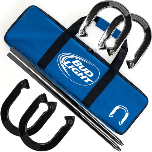 Trademark Global Bud Light Horseshoe Set with Carry Case