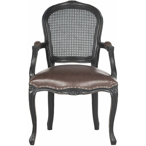 Safavieh McKenna Bicast Leather Arm Chair, Antique Brown with Silver Nail Heads