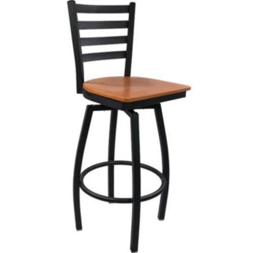 Advantage Ladder Back Metal Swivel Bar Stool - Cherry Wood Seat (SBLB-BFCW-2)