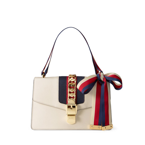 GUCCI Sylvie Small Leather Shoulder Bag, White/Red/Blue