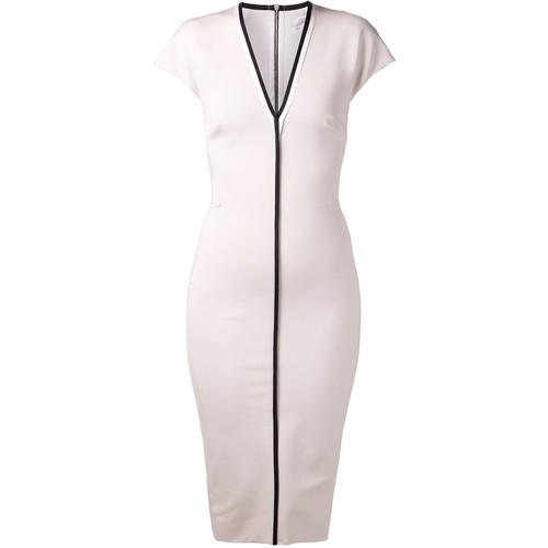 VICTORIA BECKHAM V-Neck Fitted Dress